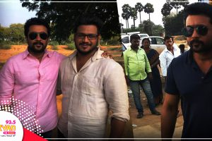 Suriya visited the shooting location of Karthi's Kadaikutty Singam.