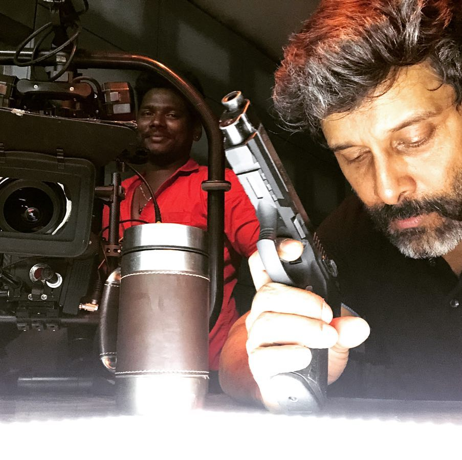 Vikram on the sets of Dhruva Natchathiram.