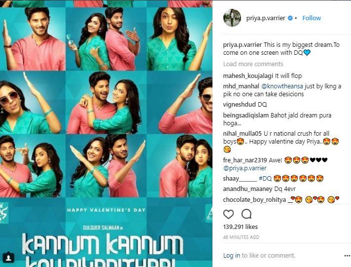Priya Prakash's Instagram post