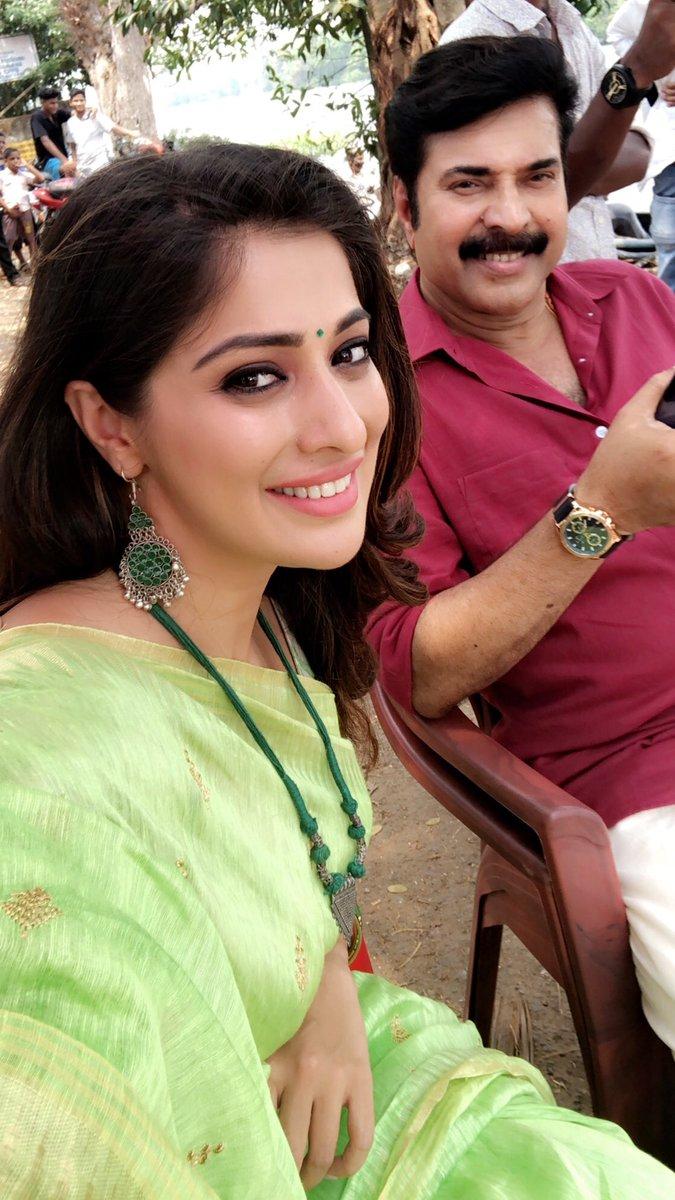 Raai Laxmi and Mammootty on the sets of Malayalam movie, 'Oru Kuttanadan Blog'