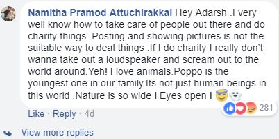 Namitha Pramod responds to criticisms on celebrating her pet's birthday.