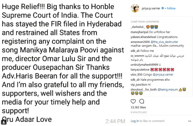 A screenshot of Priya Prakash's Instagram post