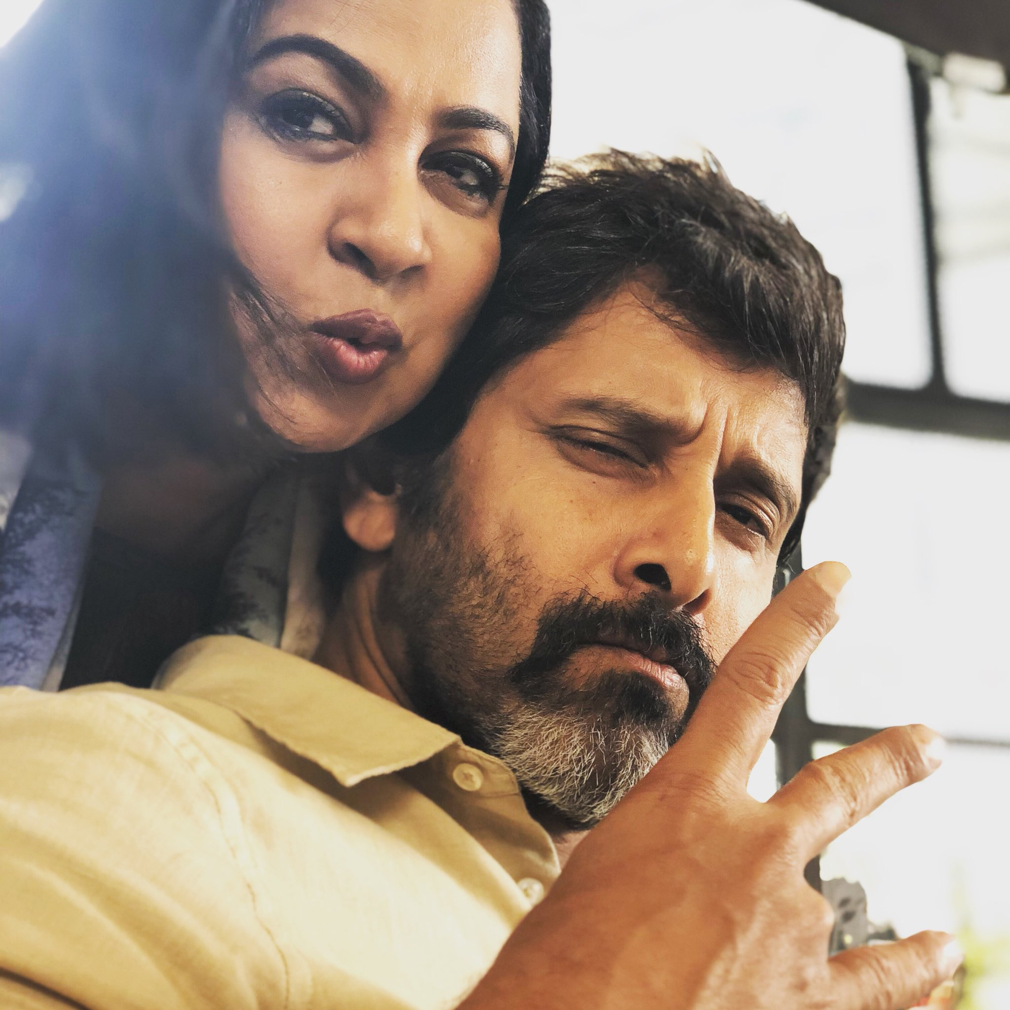 Actor Vikram and Radikaa SArathkumar at Dhruva Natchathiram shooting spot