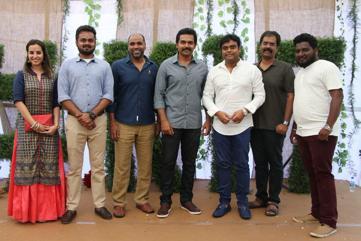 Actor Karthi's new project, Karthi 17, directed by Rajath Ravi Shankar launched with a simple pooja.