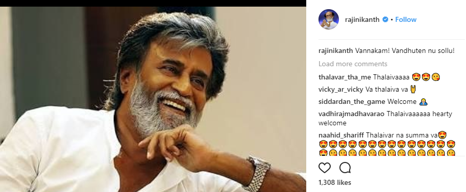 Superstar Rajinikanth is now on Instagram