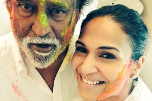 Rajinikanth's Holi celebration with daughter Soundarya.