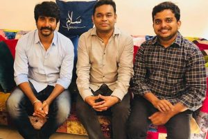 Sivakarthikeyan with AR Rahman and R Ravi Kumar.
