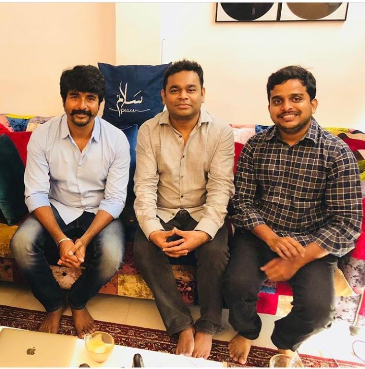 Sivakarthikeyan with AR Rahman and R Ravi Kumar.