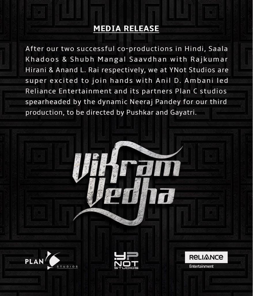Vikram Vedha Hindi remake- press release