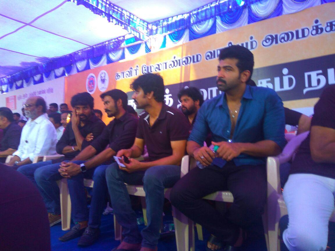 Rajinikanth Sivakarthikeyan Arun Vijay protest Cauvery Management Board