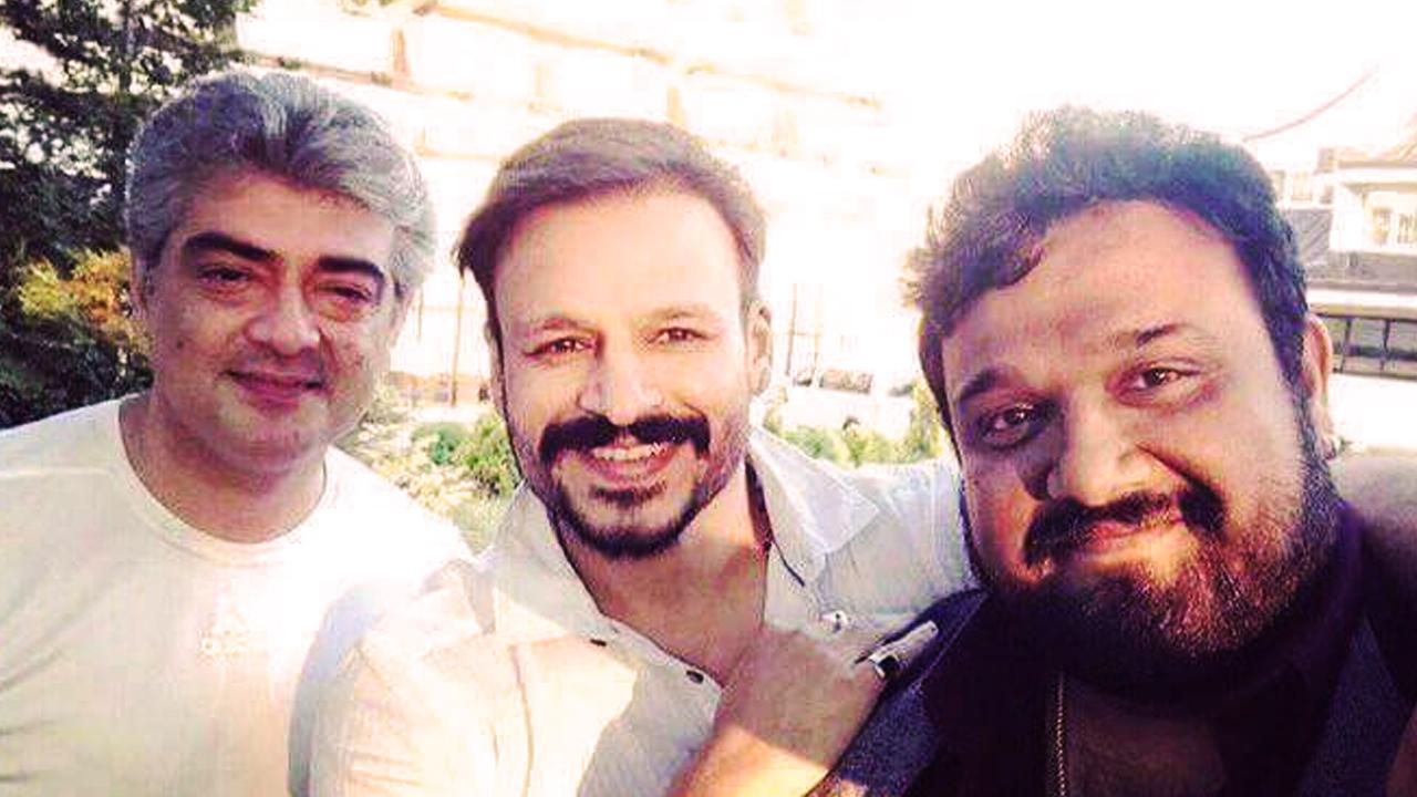 Ajith and Vivek Oberoi at Vivegam shooting spot