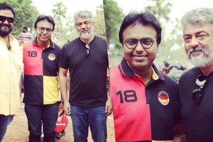D Imman joins Thala Ajith and Director Siva at Viswasam Shooting Spot
