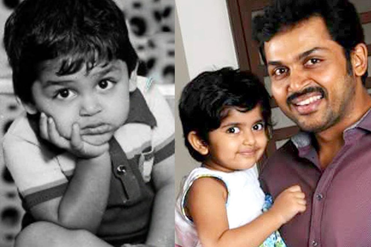 PHOTOS- Celebrities as kids v/s celebrities with their ...  Actor Karthi Daughter Umayaal Photos