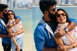 Actor Shanthanu with wife on a vacation