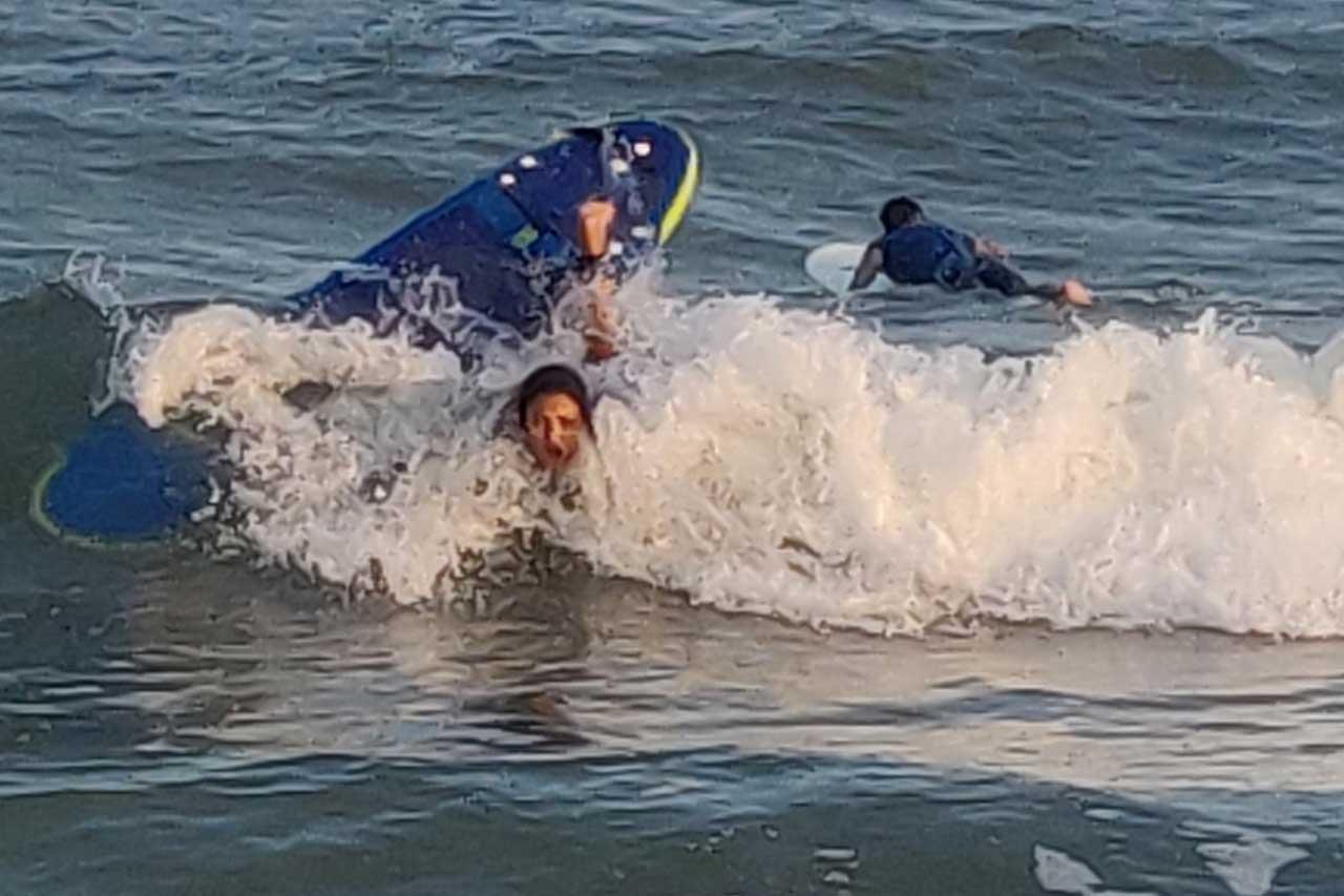Amala Paul learning to surf
