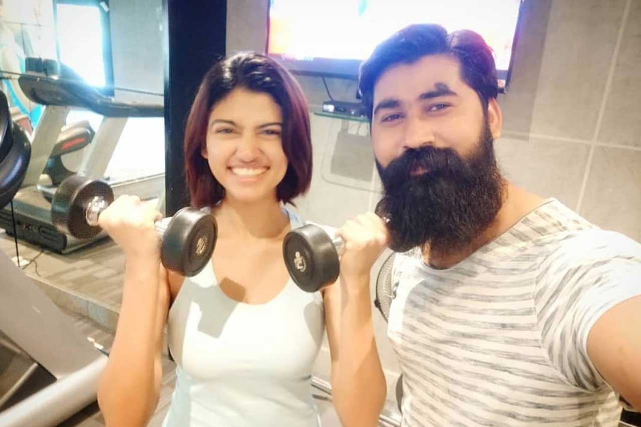Oviya with her trainer!