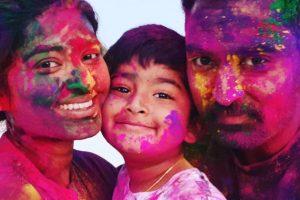 `Sneha Prasanna celebrate Holi with their son Vihaan