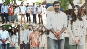 Vijay Sethupathi starts his next with Shruti Hasan Check out the Pooja stills here