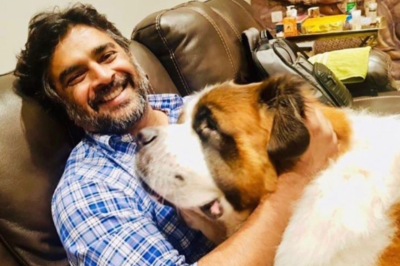 Madhavan with pet