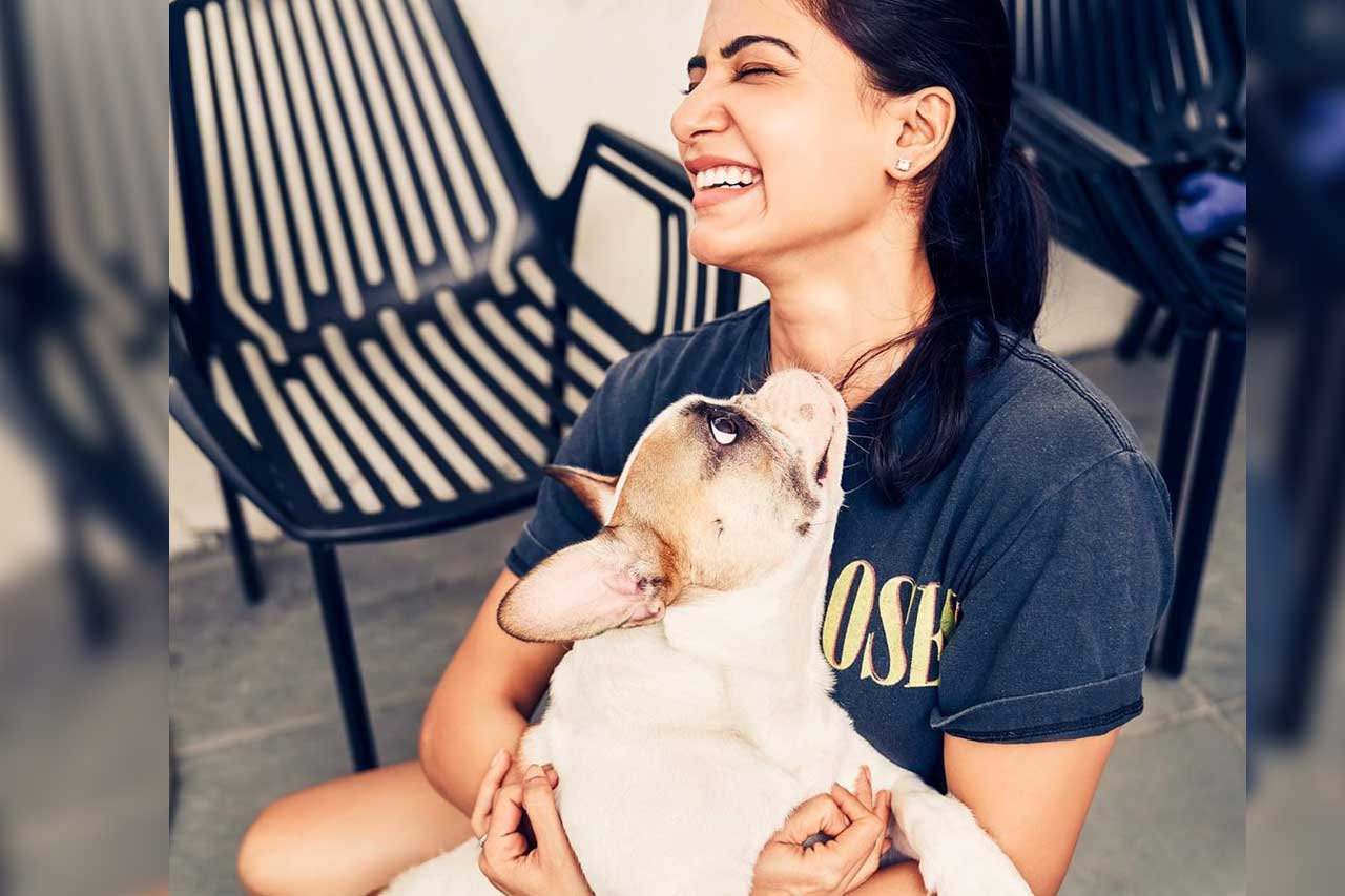 Samantha with her pet